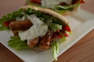 BC05-6-Pita with Sausages and Tzatziki