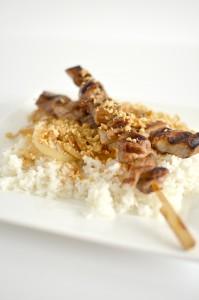BC09-2 -Pork Skewers with Peanuts and Caramelised Onions
