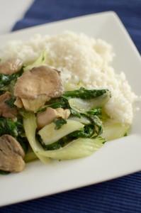 BC11-1-Bok choi and mushrooms on rice